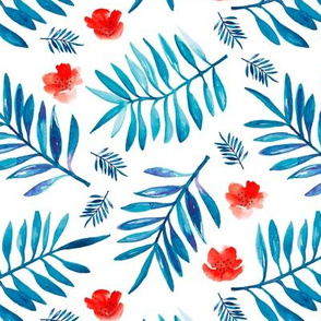 Watercolor palm leaf botanical tropical garden and blossom flowers gender neutral american national holiday red blue