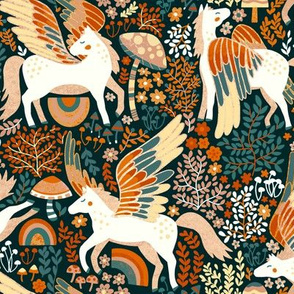 Whimsical Pegasus Forest - Orange - Small Version