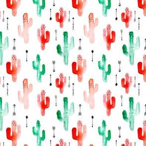 Watercolors cactus garden winter Christmas seasonal cacti arrows green red