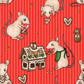 Rats making gingerbread house -coral red