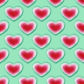 Watermelon Heart on green