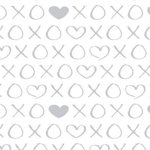 xoxo love sweet hearts and kisses print for lovers wedding and valentine in gender neutral gray on white