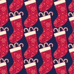 Christmas stocking with candy cane small scale by Pippa Shaw