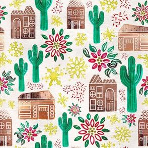 Medium Watercolor Desert Gingerbread Village // Holiday Houses with Saguaro Cacti, Poinsetta, Snowflakes, Glitter // Mid-Century Modern, Retro, Vintage Christmas
