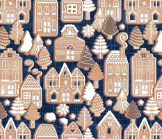 Normal scale // Whimsical Gingerbread Christmas Village // blue and brown