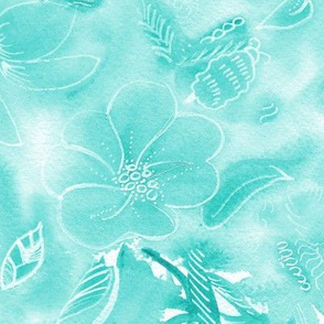 Tropical Teal Floral