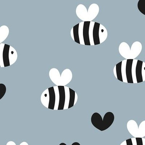 Little bumble bee cute hand cut baby insect garden ochre yellow gender neutral nursery black and white coo blue gray