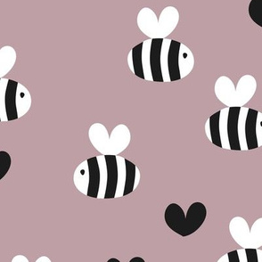 Little bumble bee cute hand cut baby insect garden ochre yellow gender neutral nursery black and white lilac mauve