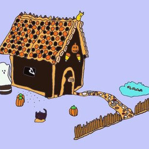 Haunted Gingerbread House Purple Background