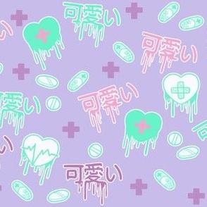Cute Menhera Drippy Hearts on Purple