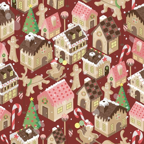 Gingerbread Town Red