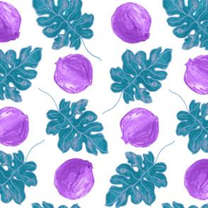 Violet Teal  Super Pom Blue Leaf