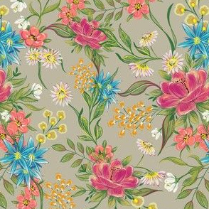 chintz pattern on grey olive