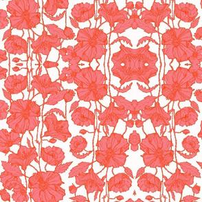 Petite Pink & Orange Poppies Brocade