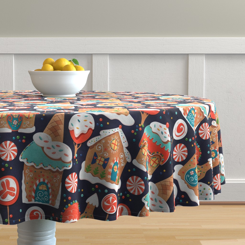 Malay Round Tablecloth featuring Gingerbread Candy Land by lidiebug