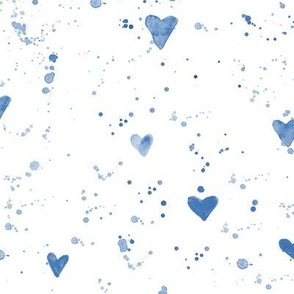 Watercolor hearts and splatters in indigo