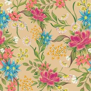chintz pattern on beige