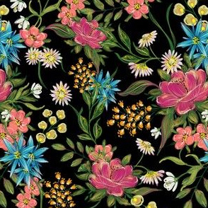 chintz pattern on black