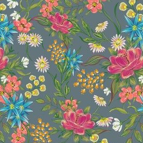 chintz pattern on grey