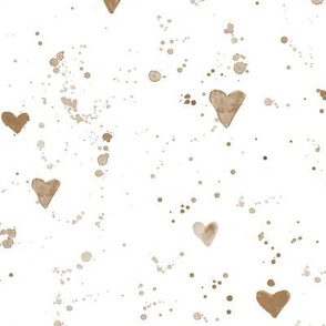 Earthy watercolor hearts and splatters • boho paint spatters for neutral nursery