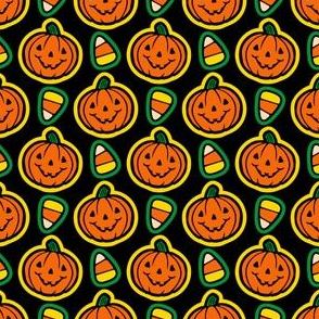 Classic Halloween Pumpkins & Candy Corn