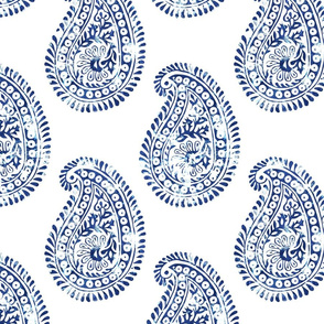 Mora paisley blue & white LARGE