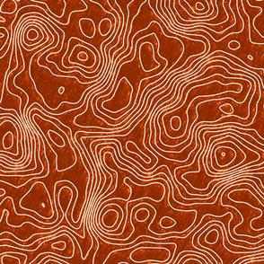 Topographic Map - Seamless - Sketch- Orange - White -150 DPI