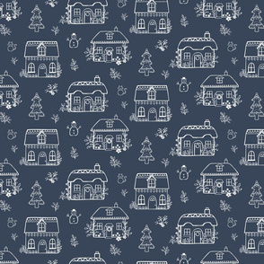 Gingerbread cottages - navy white