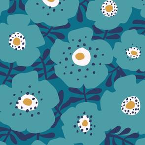 big blue flowers