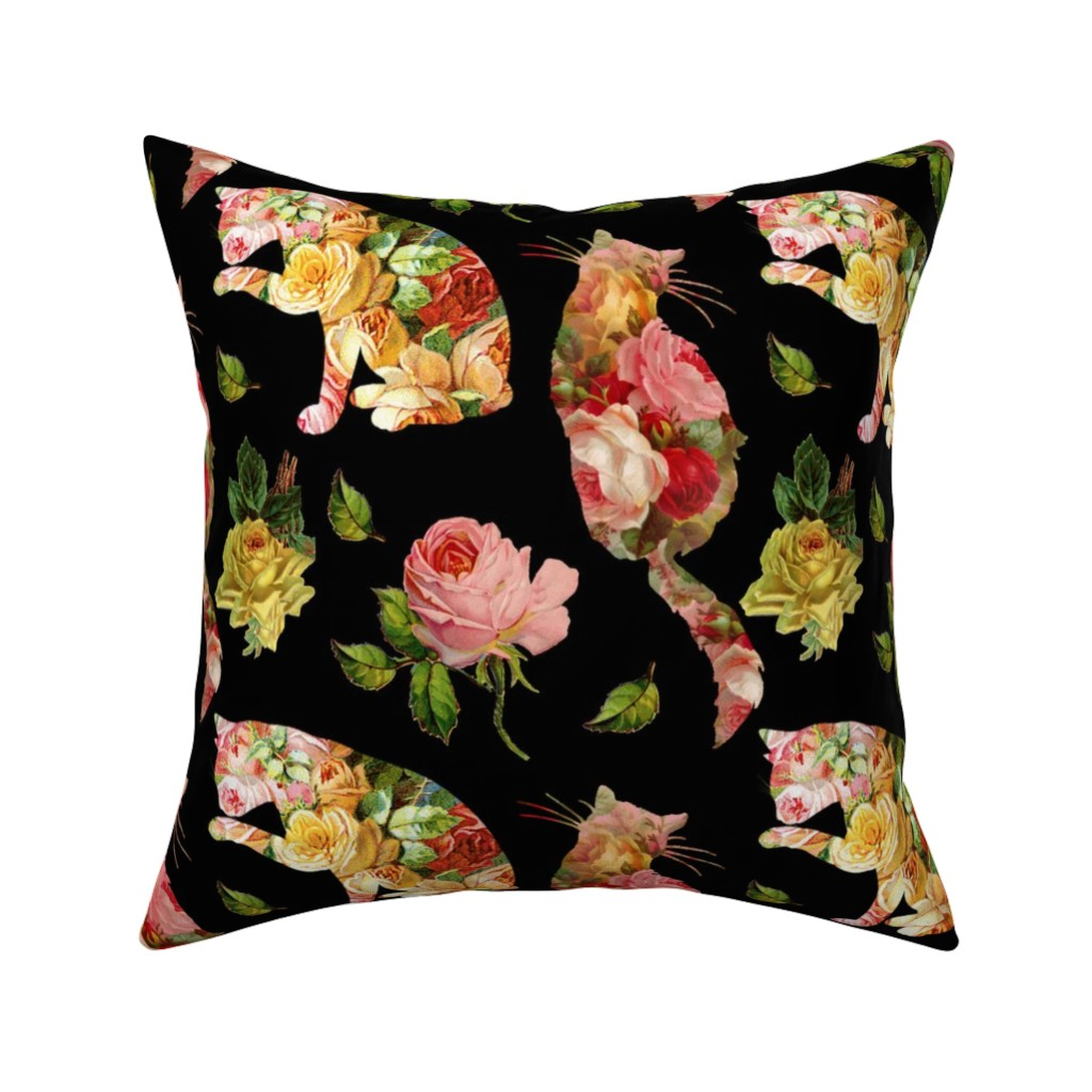 Catalan Throw Pillow featuring Rose Kitties Vintage Floral by 13moons_design