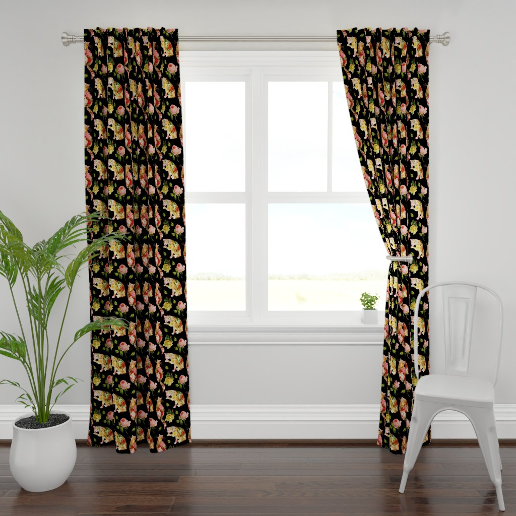 Plymouth Curtain Panel featuring Rose Kitties Vintage Floral by 13moons_design