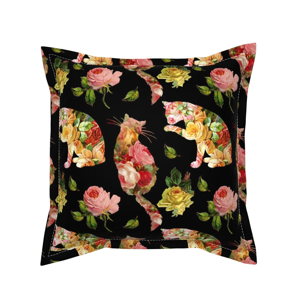 Serama Throw Pillow featuring Rose Kitties Vintage Floral by 13moons_design