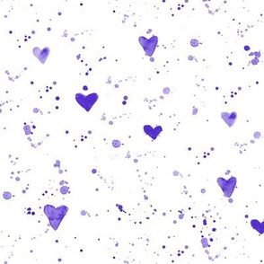 Orchid violet watercolor hearts and splatters
