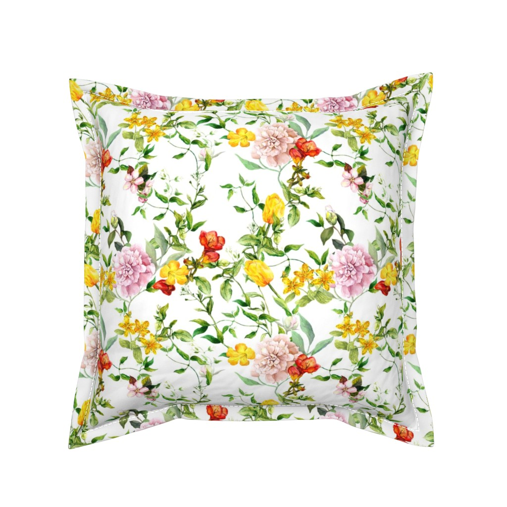 Serama Throw Pillow featuring Meadow flowers for chintz design. Watercolor by le_panda