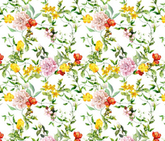 Meadow flowers for chintz design. Watercolor
