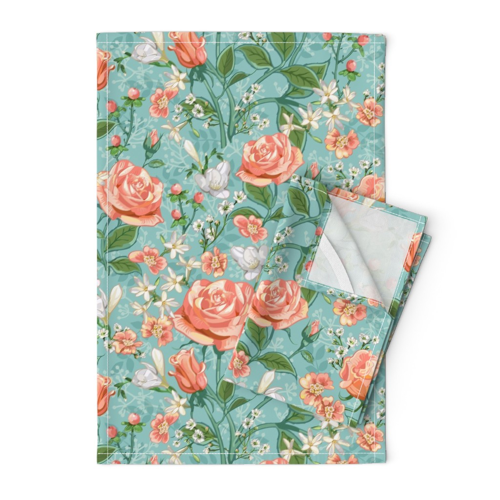 Orpington Tea Towels featuring Peach Roses Chintz by southwind