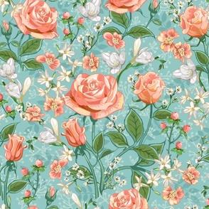 Peach Roses Chintz