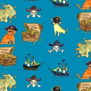 Pirate Pets and Treasures Teal