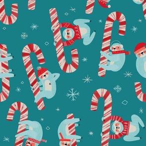 Candy Cane Christmas Sloth ROTATED