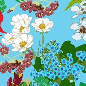 NZ Native Flowers Blue