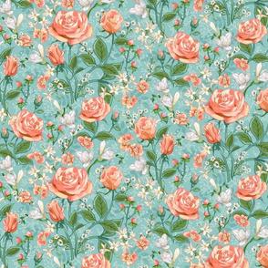 Peach Roses Chintz Small