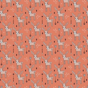 Cute winter reindeer christmas theme illustration with geometric arrows and triangles in rusty orange SMALL