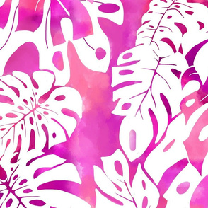 textile-monstera watercolor-red violet