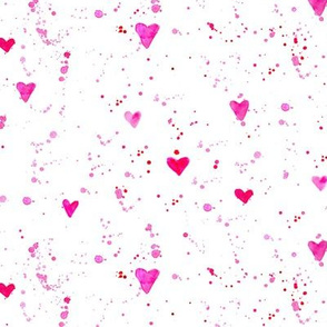 Watercolor pink hearts and splatters