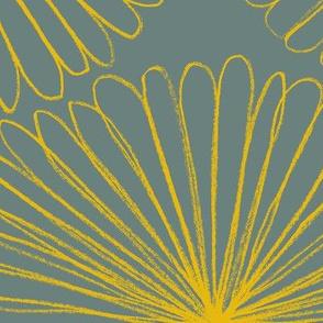 Jumbo flower wheel saffron on blue-gray