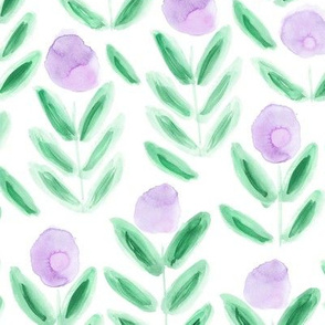 Watercolor bubble flowers in purple and green