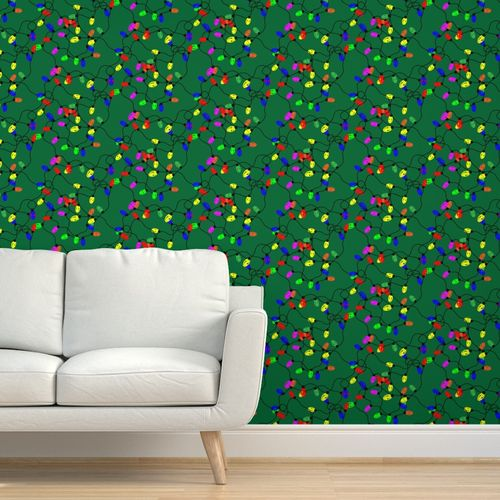Tangled Holiday Lights Spoonflower