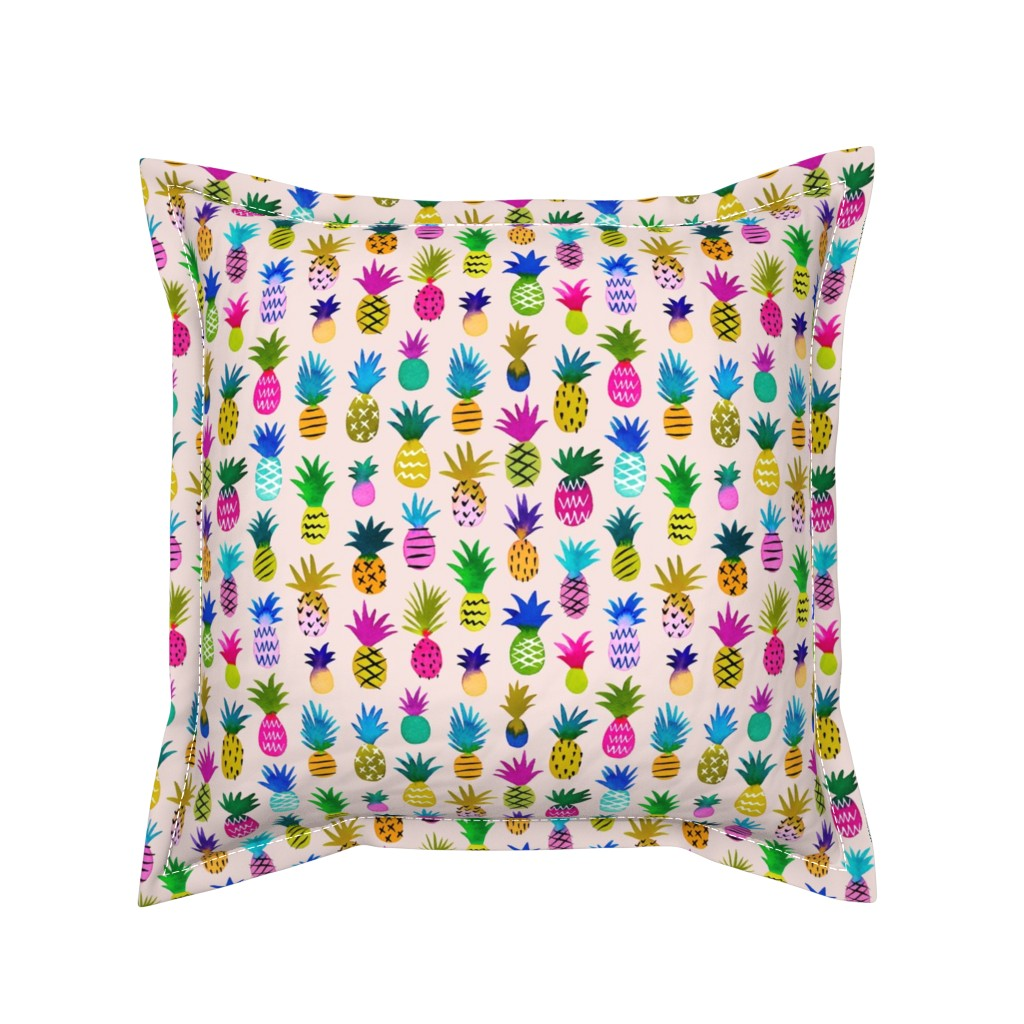 Serama Throw Pillow featuring pineapple fun - blush, small by mirabelleprint