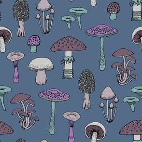 Midnight Mushrooms - grey