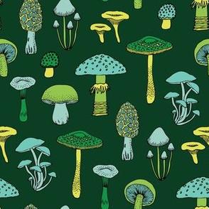 Midnight Mushrooms - green - medium version
